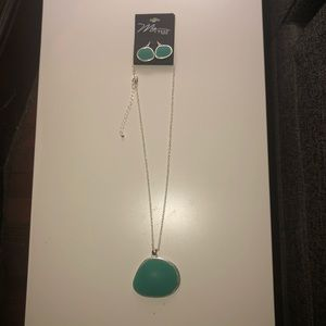 Teal and silver necklace and earring set